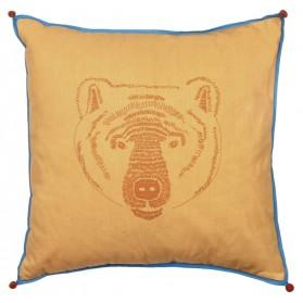 Coussin brodé - Tête d'ours