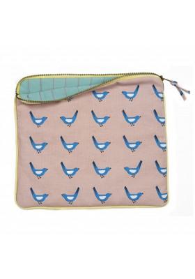 Trousse matelassée - Oiseaux bleus