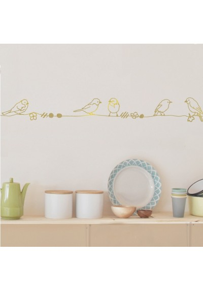 gold pearls & birds - wallborder - mimi'lou shop