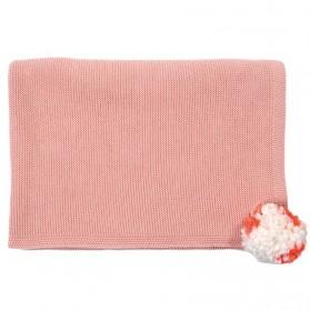 Pink pompom - Knitted Blanket