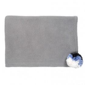 Grey pompom - Knitted blanket