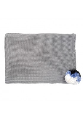Knitted Kid's Blanket, Grey Pompom