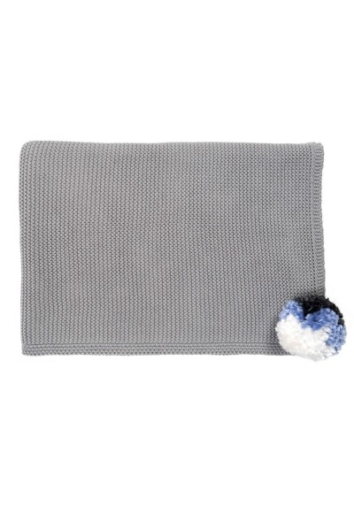 Knitted Kid's Blanket, Grey Pompom