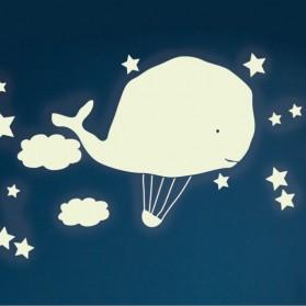 Hot air balloon & whale  - Sticker