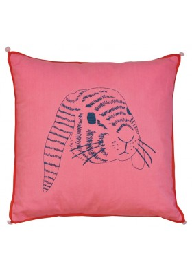 Embroidered cushion 'rabbit's head""