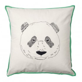 Panda's head - embroidered cushion
