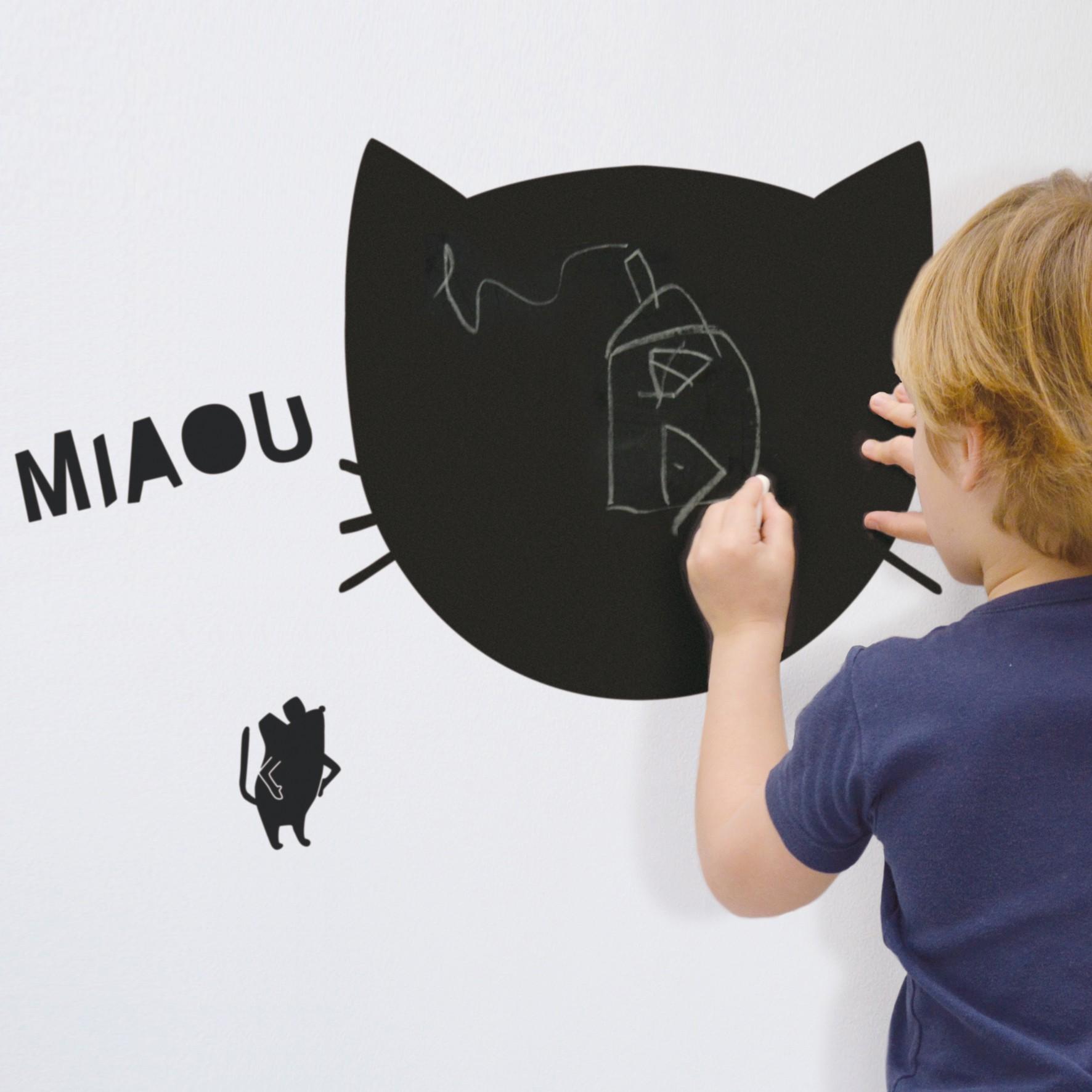 Comment Coller De L Ardoise sticker ardoise - miaou - mimi'lou shop