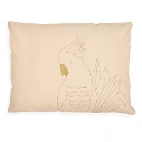 Golden Parrot - Embroidered cushion