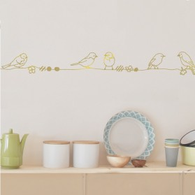Gold Pearls & Birds - Wallborder