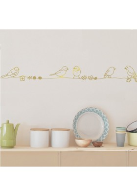 Wall Decal Border - Perles et Oiseaux Gold