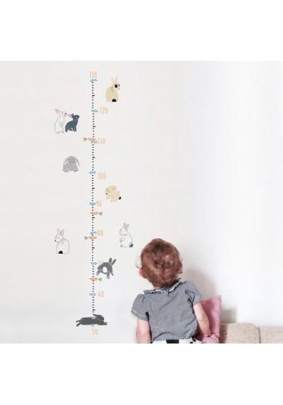 Rabbits Multilingual Height Chart (dk,fr,de,en)