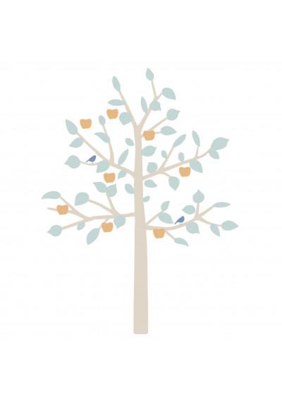 STICKER GEANT - BIG APPLE TREE Bébé bleu