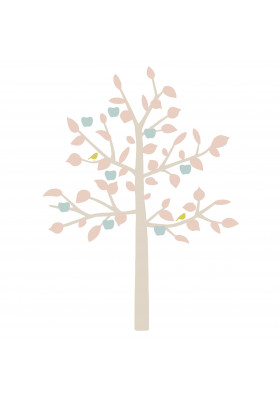 STICKER GEANT - BIG APPLE TREE bébé rose