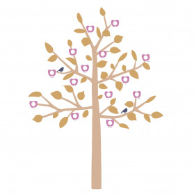 STICKER GEANT -BIG  FAMILY TREE MOUTARDE