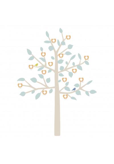 STICKER GEANT - BIG FAMILY TREE bébé bleu