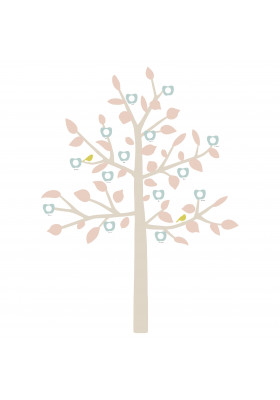 STICKER GEANT - FAMILY TREE bébé rose